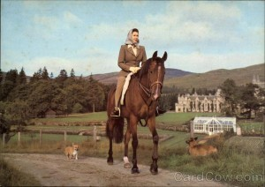 Her Majesty the Queen, riding at Balmoral